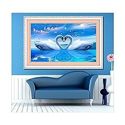 5D Diamond Painting Cross Stitch Living Room Have Mutual Affinity Swan\'s Kiss Diamond Stitch Round Diamond