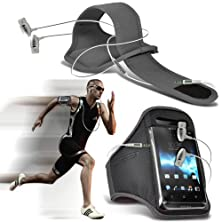 buy ( Grey + Earphone ) Sony Xperia Z3 Compact Protective Stylish Fitted Sports Armbands Running Bike Cycling Gym Jogging Ridding Arm Band Case Cover With Premium Quality In Ear Buds Stereo Hands Free Headphones Headset With Built In Microphone Mic And On-Off