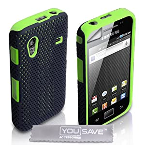 Samsung Galaxy Ace S5830 Green Mesh Dual Combo Silicone Case Cover With Screen Protector