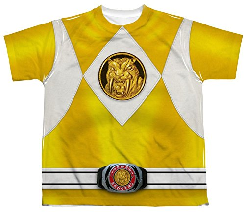 Mighty Morphin Power Rangers Yellow Ranger Emblem Costume - All Over Youth Front T-Shirt
