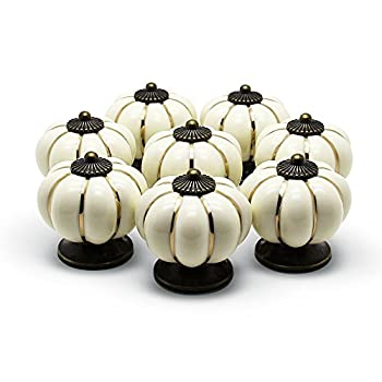 YDO(TM) Pumpkin Knobs Ivory Kitchen Cabinet Pull Ceramic Handle 8pcs