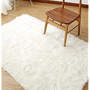 Sheepskin Area Rug Supersoft Fluffy Rectangle Sheepskin Rug Shaggy Rug Floor Mat Carpet Decoration (3 ft x 5 ft, White)