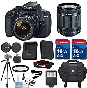 Canon EOS Rebel T5 DSLR Camera + 18-55mm IS. Celltime Exclusive Bundle Includes, 2 pieces 16GB Class 10 Memory Card + Camera Case + High Definition U.V. Filter + Card Reader + Tripod + Cleaning Kit