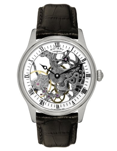 Rotary Men's Mechanical Watch with White Dial Analogue Display and Brown Leather Strap GS02521/06