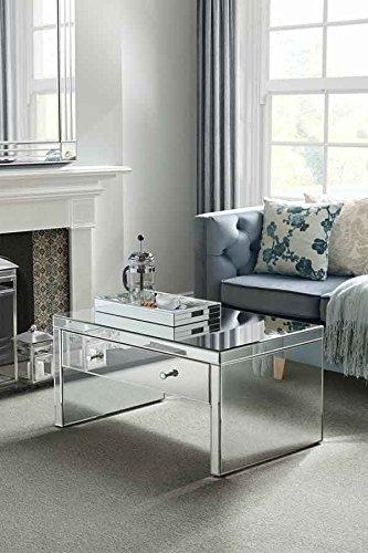 MY-Furniture Mesa de centro de espejo – estilo veneciano –cajon grande – Gama CHELSEA
