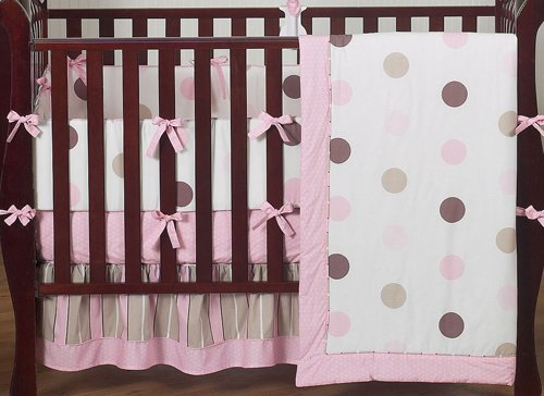 Pink polka dot and gray damask girls baby bedding 9 piece crib set