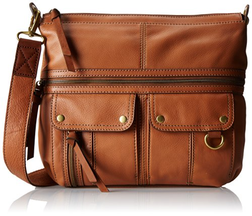Image of Fossil Morgan Top Zip Cross Body Bag, Saddle, One Size