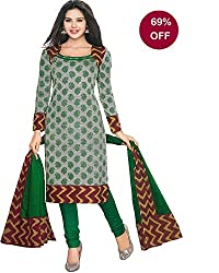 Summer special sale Offer!!!!RSS SGS Women's Cotton Unstiched Dress Material (RSS/SGS 217/2015_Green Ash Red_Free Size)