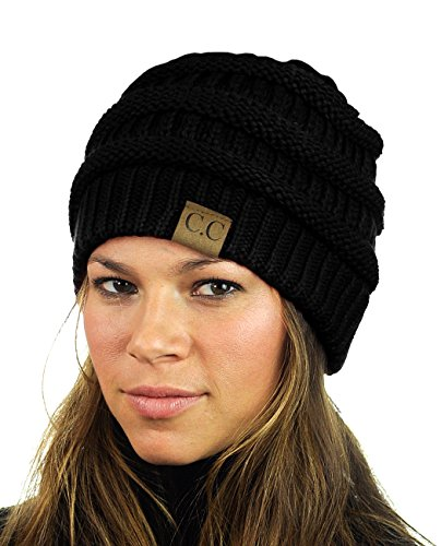 unisex-trendy-warm-chunky-soft-stretch-cable-knit-slouchy-beanie-skully-black-one-size
