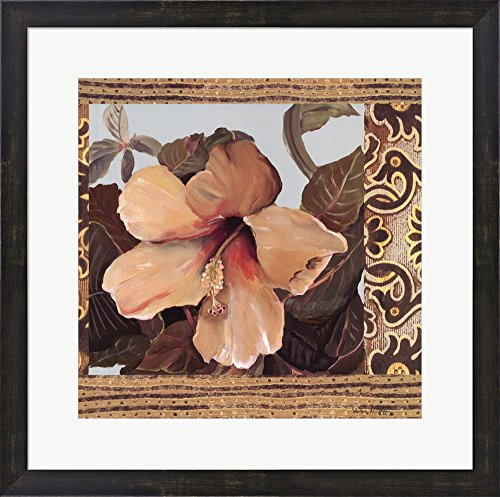 Hibiscus I by Valentina Di grazzia Framed Art Print Wall Picture, Espresso Brown Frame with Hanging Cleat, 23 x 23 inches (Valentina Espresso compare prices)