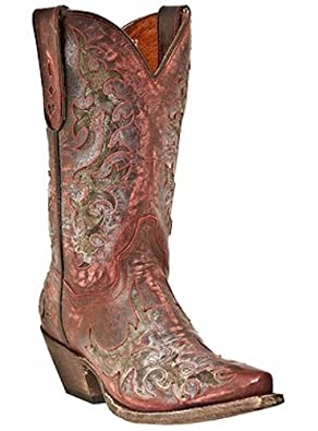 Dan Post Boots Zephyr All Over Leather Inlay Cowboy DP3542 Sanded Red
