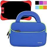 Evecase UltraPortable Handle Carrying Neoprene Sleeve Case Bag Compatible with Fuhu Nabi Jr. / nabi Jr. S - Kids Tablet / nabi Jr. nick Jr. Edition Tablet 5 inch Android Kids Tablet - Blue