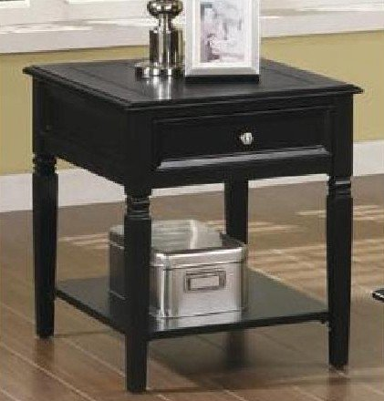 Cheap End Table with Drawer and Shelf in Black Finish (VF_701137)