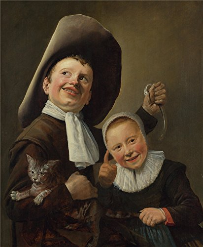 Oil Painting 'Judith Leyster A Boy And A Girl With A Cat And An Eel ' Printing On High Quality Polyster Canvas , 8 X 10 Inch / 20 X 25 Cm ,the Best Laundry Room Artwork And Home Decor And Gifts Is This High Quality Art Decorative Canvas Prints