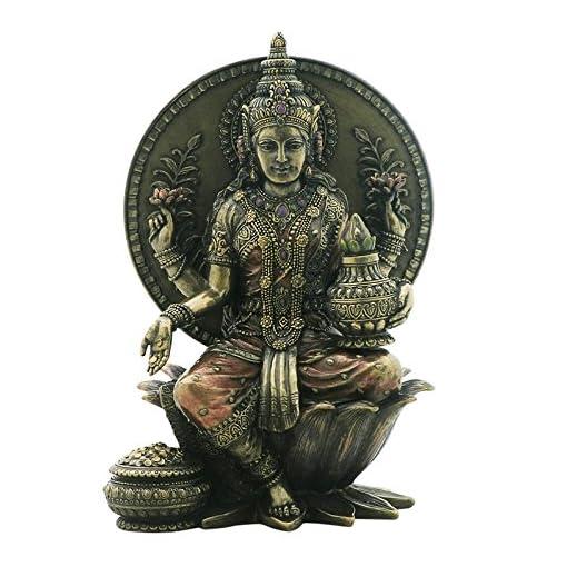 Lakshmi-Indische-Gttin-des-Glcks-sitz-auf-Thron-Figur-bronziert-Skulptur