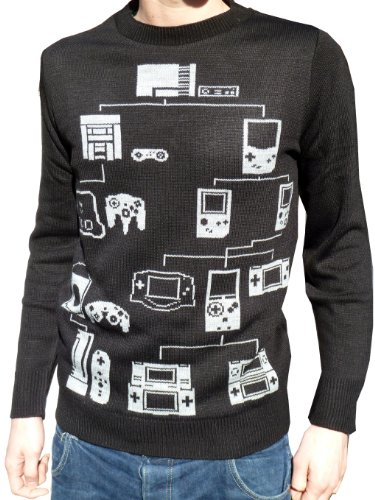 mens & ladies black retro computer console game jumper xs s m l xl