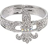 Crystal Rhinestone Fleur de Lis Hinged Bangle Bracelet in Silver Tone