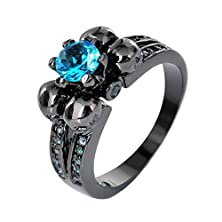 buy Bamos Jewelry Ladies Aquamarine Six Claws And Four Skull Black Gold Rings Party Size 7