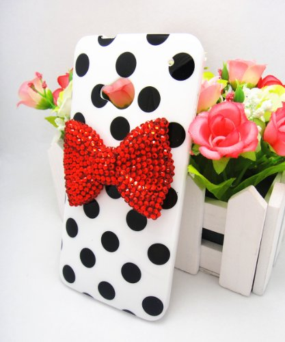 White Cute 3D Bling Red Bow Dot Pattern Case Cover For Htc One M7