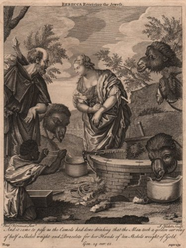 Bible: Genesis 14:22 Rebecca Receiving The Jewess; Antique Print 1752