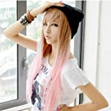 X&Y ANGEL New Two Tone Long Straight Highlights Hair Wigs Pink MJ051-1
