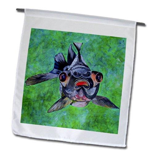 Fl_46714_1 Taiche - Acrylic Painting - Fish - Black Moor Goldfish - Black Moor Goldfish, Telescope Goldfish, Goldfish, Dragon Eye Goldfish - Flags - 12 X 18 Inch Garden Flag
