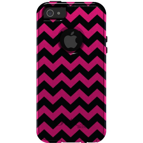 Special Sale CUSTOM OtterBox Commuter Series Case for iPhone 5 5S - Chevron Stripes Zig Zag (Black & Pink)
