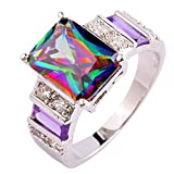 Psiroy Women's 925 Sterling Silver 6cttw Rainbow Topaz Filled Ring