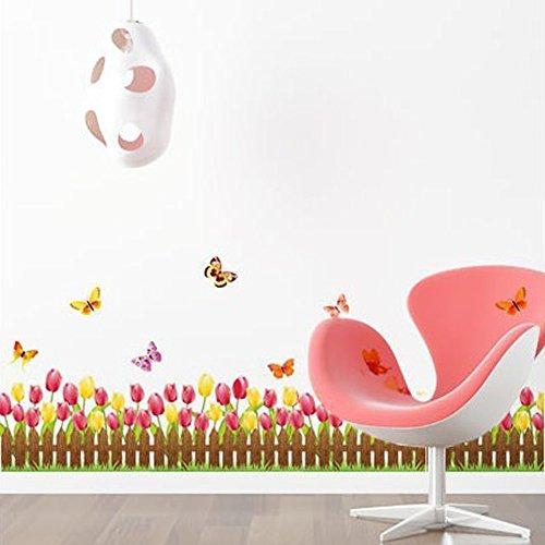 wallpark-tulipe-papillons-fleurs-cloture-plinthe-amovible-stickers-muraux-autocollants-salon-enfants