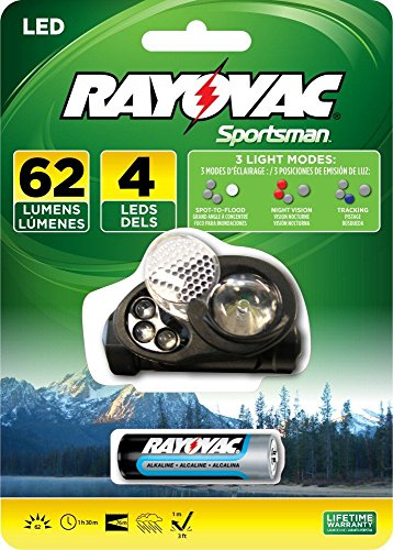 Rayovac Sportsman 62 Lumen 1Aa 4-Led Headlight With Batteries (Se1Whlt-Ba)