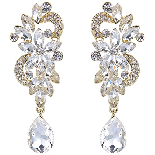 JoinMe Women's Bohemian Crystal Flower Wedding Bridal Chandelier Teardrop Bling Dangle Earrings Gold-Tone