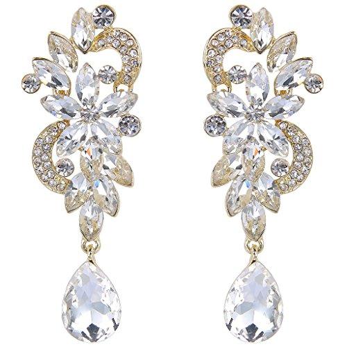 JoinMe Women's Bohemian Crystal Flower Wedding Bridal Chandelier Teardrop Bling Dangle Earrings Gold-Tone