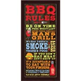 BBQ Rules by Stephanie Marrott Kitchen Sign 9.5x19.5 Framed Art Print Picture