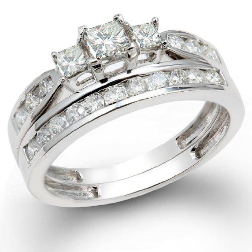 1.25 Carat (ctw) 14k White Gold Princess & Round 3 Stone Diamond Ladies Bridal Ring Set Engagement Set