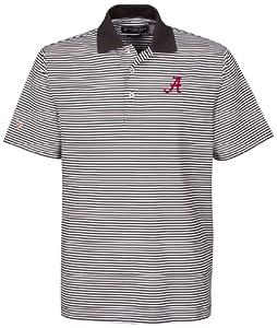 NCAA Alabama Crimson Tide Mens Ashford Stretch Coolmax Stripe Polo Shirt by Oxford