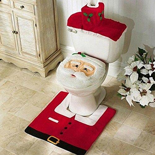 Conjunto de 3 decoración de Navidad tapa del inodoro Santa & alfombra...