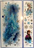 Disney Frozen Wall Decor Mega Pack, 1 Giant Glittering Decal of Ice Castle with Headshot Decals of Anna and Elsa (11 Pieces) and 25 More Wall Decals - Reusable (37 Total Wall Decals) - (Glitter Head Shot Scene 38.8x16.5)