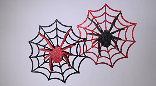 Katherine's Collections Red and Black Glitter Spiderweb Hanging Decorations - Set of 2