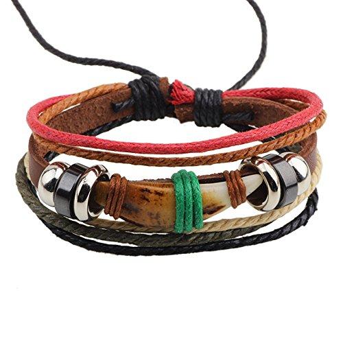 Snowman Lee Multi Strand Color Ropes Dog Tooth Leather Adjustable Wrap Bracelet