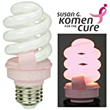 Soft Pink Breast Cancer Awareness Light Bulb by TCP Benefits the Susan G. Komen for the Cure Foundation. 14 Watt (Equal to 60 w) CFL Lightbulb Lasts 9 Years, Saves 75% vs. Incandescent Bulbs.