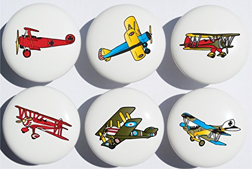 Vintage Airplane Drawer Pulls / Ceramic Handle Knobs / Set of 6 (Airplane Dresser Knobs compare prices)