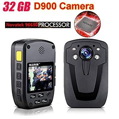 Blueskysea D900 HD 1080P Police Body Worn Camera with Night Vision (32GB,10000 mAh Power Bank )