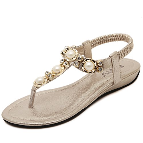 Smilun Bambina Sandali Capri con cinturino dietro la caviglia Nero stringati lacci 36 oro
