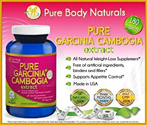 #1 PURE Garcinia Cambogia Premium Fruit Extract (60% HCA) with Potassium, 180 Veg Capsules, 1300 mg per Serving for Great Weight Loss Benefits, Supports Appetite Control, Full 90-Day Supply with Every Bottle, Top Reviews, Lose Weight Now, 3 Months Supply - Buy Diet Pills in Bulk & Save, Fat Burner, Supports Weight Loss, Advanced Formula - Sold EXCLUSIVELY by Pure Body Naturals(TM)
