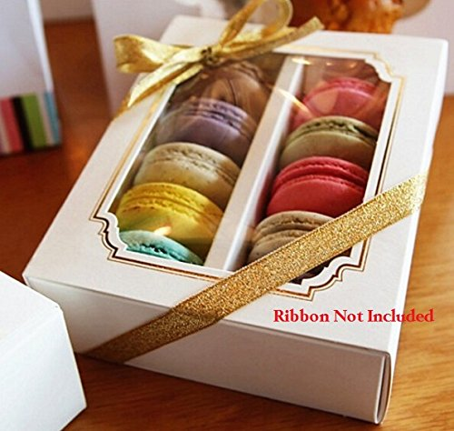 S.P.S Clear Plastic Paper Gold Design Macaron Cake Box Container Holder Large, 10 Boxes, (16x13x5cm)