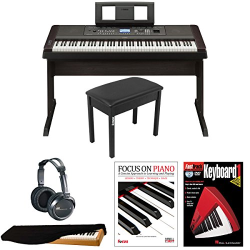 Yamaha DGX-650 88-Key Graded Hammer Action Digital Piano with JVC Headphones, Dust Cover, Knox Piano Bench, Focus on Piano (Book/CD) & FastTrack Keyboard DVD