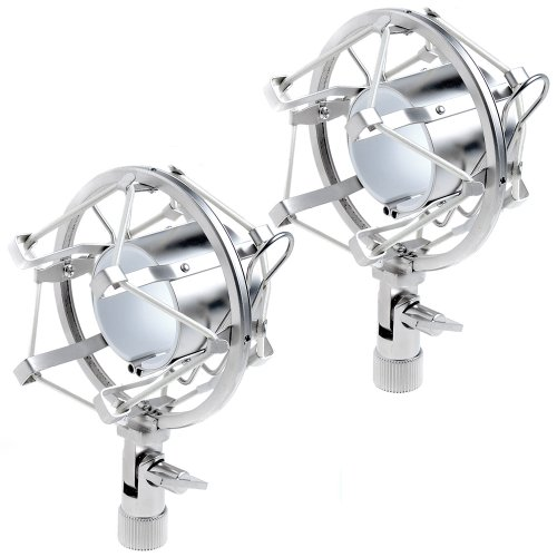 "2Sets Silver Microphone Shock Mount Fits Most Mxl, Ev Mics & More (1 5/8 - 1 7/8"")"