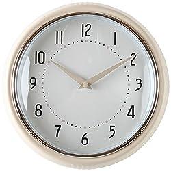 Lily's Home Retro Kitchen Wall Clock, Large Dial Quartz Timepiece, Cream 9.5