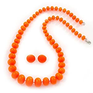 Amazon.com: Neon Orange Acrylic Bead Necklace & Stud Earrings Set