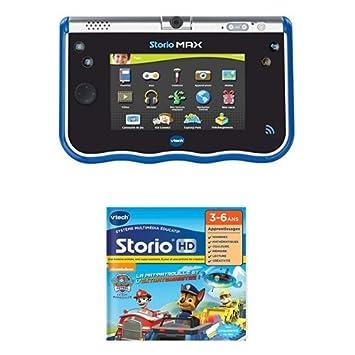 Vtech - Lot d'une Tablette Storio Max 5 Pouces Bleue + d'un Jeu HD Storio Pat Patrouille
